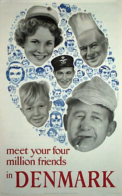 Denmark - meet your four million friends original poster designed by Thelander