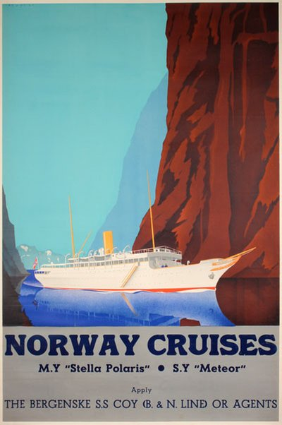Norway Cruises original poster designed by Lavies, Jan (1902-2005)