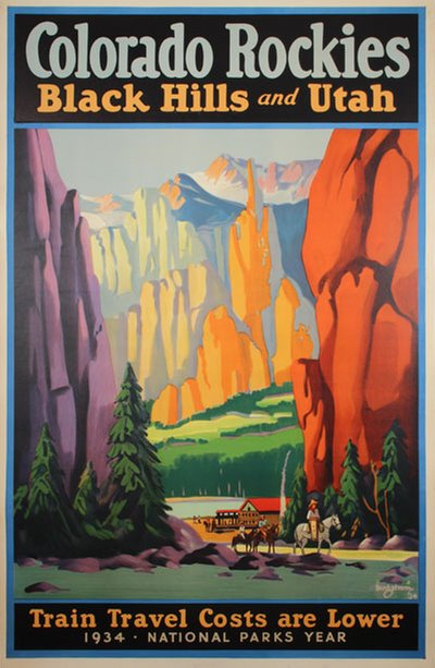 Colorado Rockies -  Black Hills and Utah original poster designed by C J Bergström