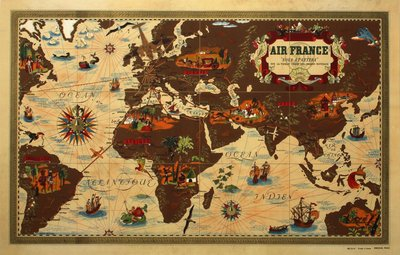 Air France MAP original poster designed by Boucher, Lucien (1889-1971)
