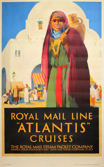 Royal Mail Line Atlantis Cruises Morocco  original poster designed by Percy, Padden (1885-1965)
