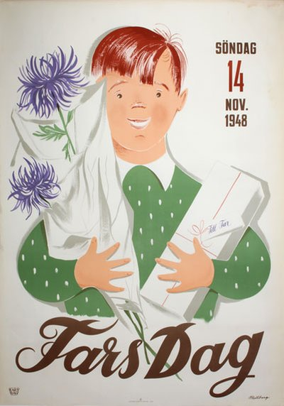 Fars Dag - 14 November 1948 original poster designed by Sven Mellberg