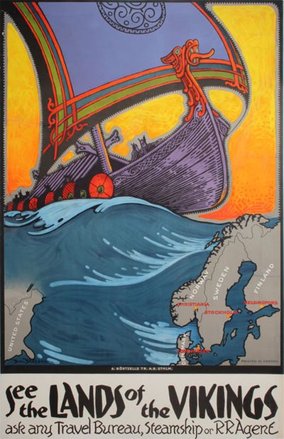 See the Lands of the Vikings original poster designed by Blessum, Benjamin (Ben)  (1877-1954)