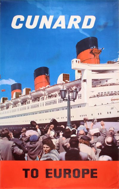 Cunard Line to Europe RMS 'Queen Mary' original poster