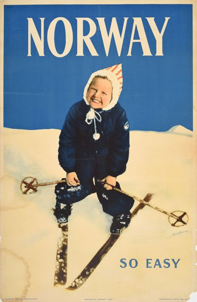 Norway so easy - ski poster original poster designed by Eidem