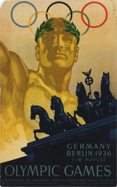 Olympics Games Berlin 1936 original poster designed by Franz Würbel