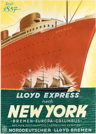 Lloyd Express Nach New York original poster designed by SCH