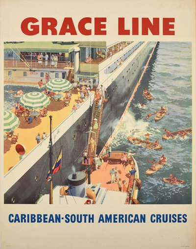 Grace Line Caribbean South America Cruises original poster designed by Evers