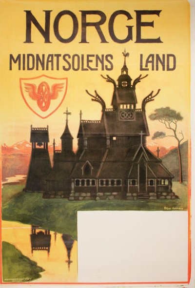 Norge Midnatsolens land original poster designed by Holmboe, Othar (1868-1928)