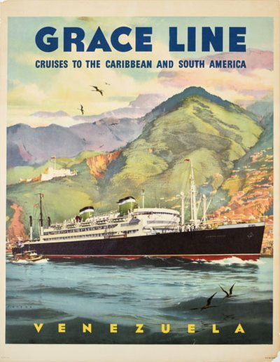 Grace Line Venezuela original poster designed by Evers, C.G.