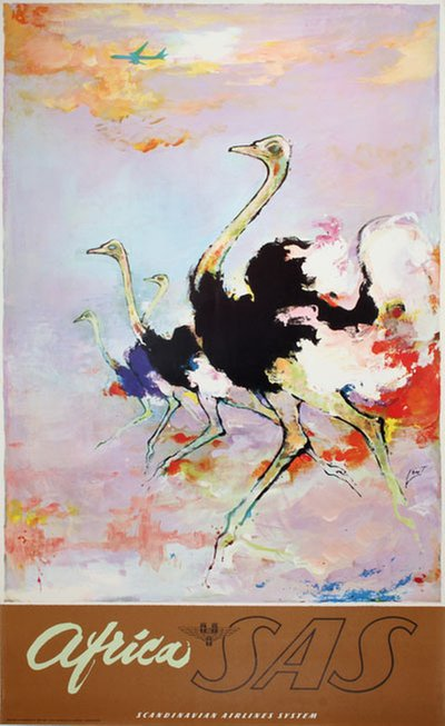 SAS - Africa - Ostrich original poster designed by Nielsen, Otto (1916-2000)