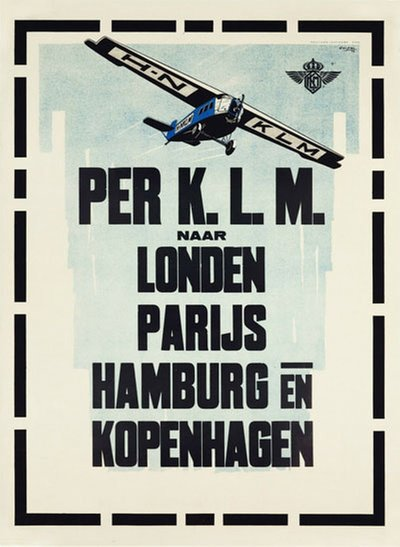 K.L.M. to London, Paris, Hamburg and Copenhagen1924 original poster designed by Carsten