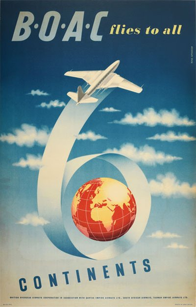BOAC flies to all 6 continents original poster designed by Pick, Beverley (1916-1996)
