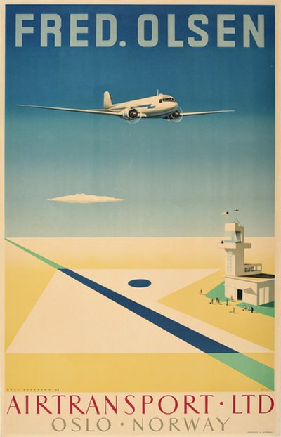 Fred. Olsen Airtransport Ltd Oslo Norway original poster designed by Andersen, Axel