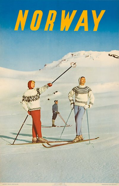 Norway 1958 Skiing Poster  original poster designed by Photo: Jan Fr. Sohlberg