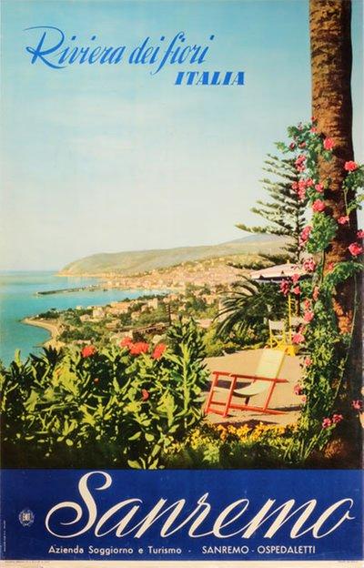 Fiori Vintage.Original Vintage Poster Sanremo Italy Riviera Dei Fiori For Sale