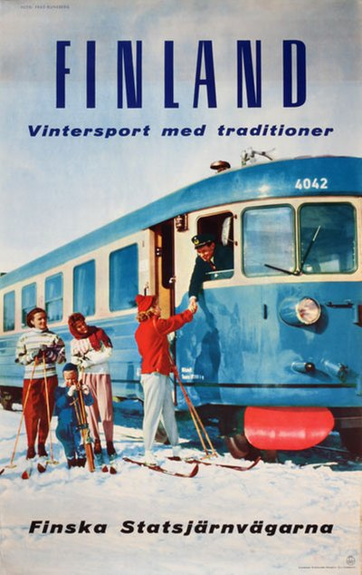 Finland - Vintersport med traditioner original poster designed by Photo: Fred Runeberg