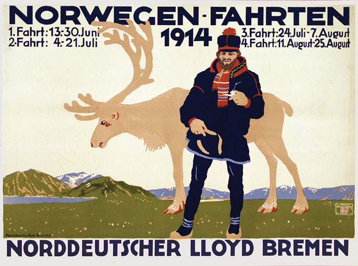 Norwegen-Fahrten original poster designed by Amtsberg, Otto (1877-?)