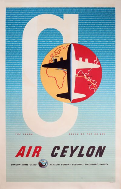 Air Ceylon The trunk route of the Orient original poster