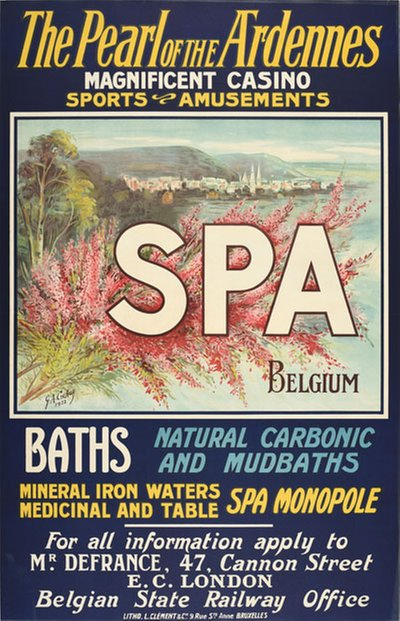 The Pearl Ardennes SPA Belgium original poster designed by Crehay, Gérard Antoine (1816-1897)