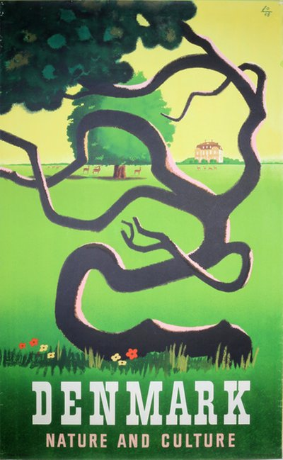 Original Vintage Poster Denmark Nature And Culture For