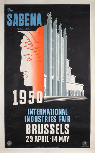 Fly Sabena to Brussels International Industries Fair original poster designed by Marfurt, Leo (1894-1977)
