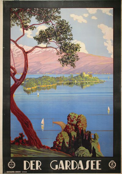 Der Gardasee - Lake Garda - Italy original poster designed by Trematore, Severino (1895-1940)