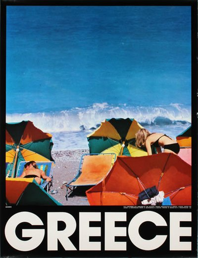 Greece Rhodes original poster designed by Layout: N. Costopoulos - Photo: N. Mavrogenis, N. Contos