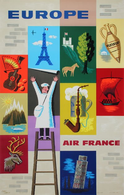 Air France - Europe original poster designed by Carlu, Jean (1900-1997)