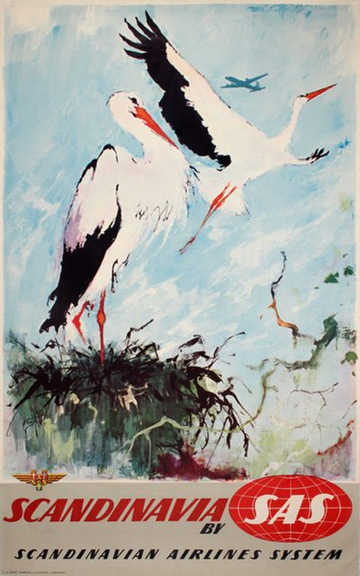 by SAS - Scandinavia - White stork original poster designed by Nielsen, Otto (1916-2000)