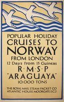 Cruises-to-Norway-RMSP-Araguaya-original-vintage-poster