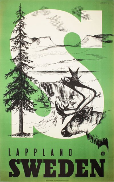 Lappland Sweden original poster designed by Beckman, Anders (1907-1967)