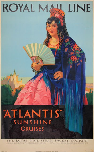 Royal Mail Atlantis Summer Cruises Spain original poster designed by Padden, Percy (1885-1965)