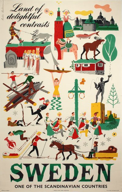 Sweden - Land of Delightful Contrasts original poster designed by Lauesen, Laus (1914-1966)