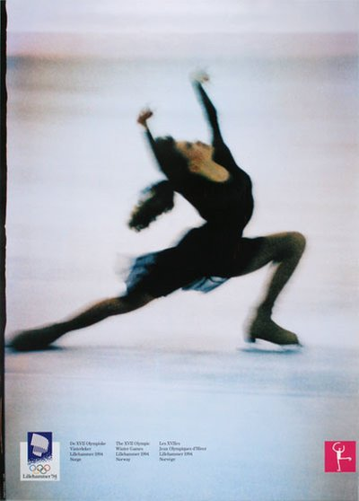 Lillehammer 94 Winter Olympics - Figure Skating original poster designed by Photo: Jim Bengston