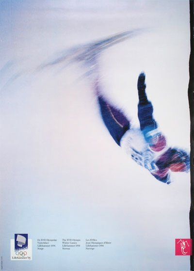 Lillehammer 94 Winter Olympics - Freestyle Skiing original poster designed by Photo: Jim Bengston