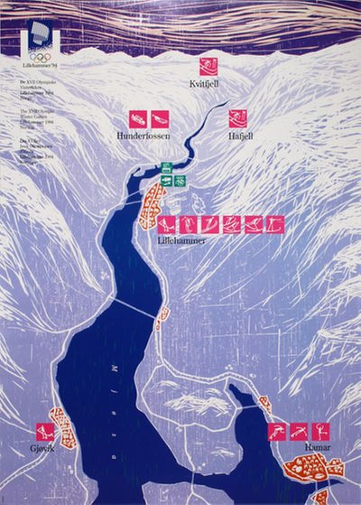 Lillehammer 94 Winter Olympics - Venues map poster original poster