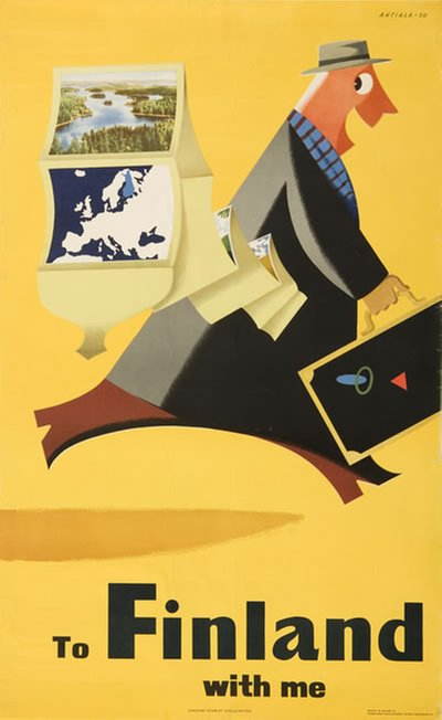 To Finland with me original poster designed by Ahtiala, Heikki (1913-1983)