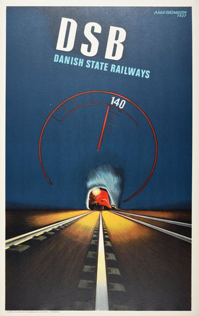 DSB - 140 original poster designed by Rasmussen, Aage (1913-1975)