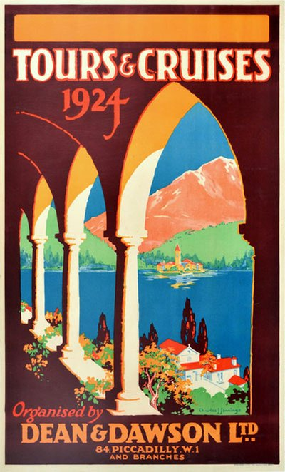 Dean Dawson Tours 1924 original poster designed by Charles J Jennings