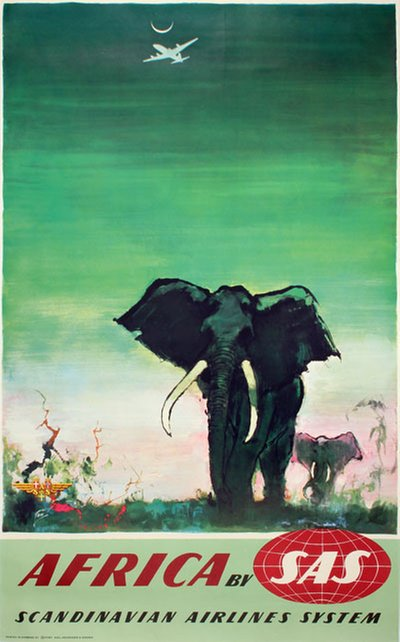 by SAS - Africa - Elephants original poster designed by Nielsen, Otto (1916-2000)