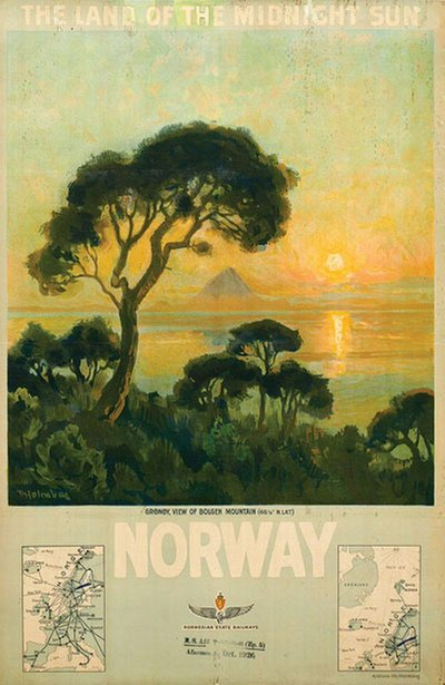 Norway the Land of the Midnight Sun original poster designed by Holmboe,Thorolf (1866-1935)