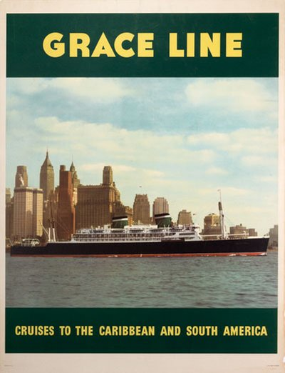Grace Line Cruises to the Caribbean and South America original poster designed by Evers, C.G.