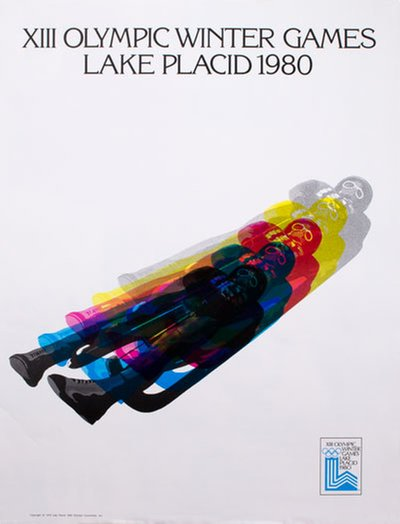 XIII Olympic Winter Games Lake Placid 1980 Luge original poster