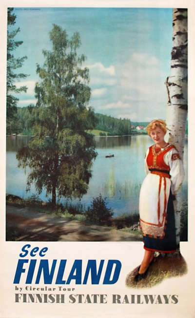 Finland   - Finnish  State Railways original poster designed by Photo: Fred Runeberg
