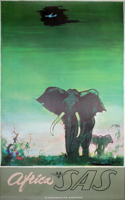 SAS - Africa - Elephants original poster designed by Nielsen, Otto (1916-2000)