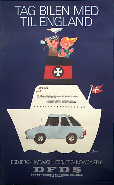 DFDS - Newcastle - Esbjerg original poster designed by Antoni, Ib (1929-1973)