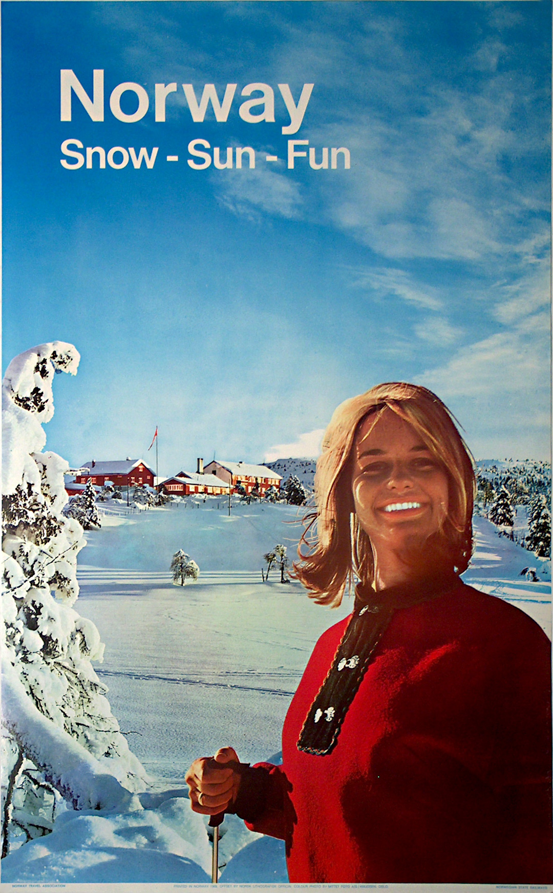Original Vintage Poster Norway 1969 Snow Sun Fun For Sale At Posterteam Com