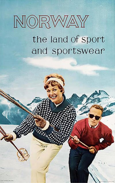 Norway The Land Of Sport And Sportswear original poster designed by Tegnernes Byrå