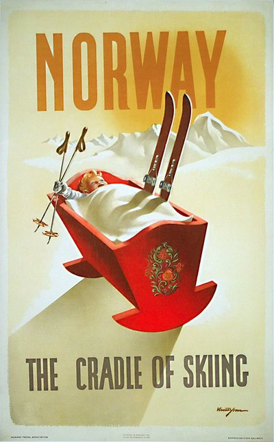 Norway - The Cradle of Skiing original poster designed by Yran, Knut (1920-1998)